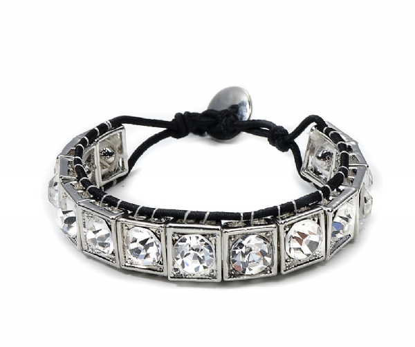Stunning Diamante bracelet on waxed cord